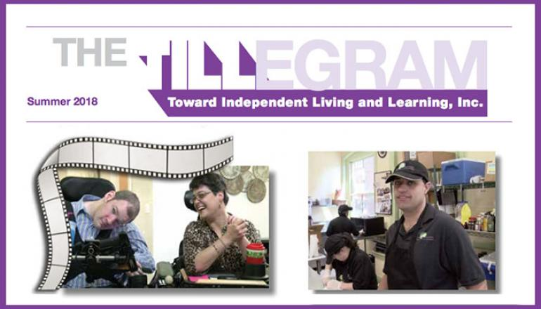 Front page of TILL's newsletter, the TILLegram, bold purple headlines