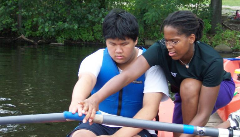 youth learning to row