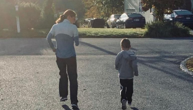 Molly and son running